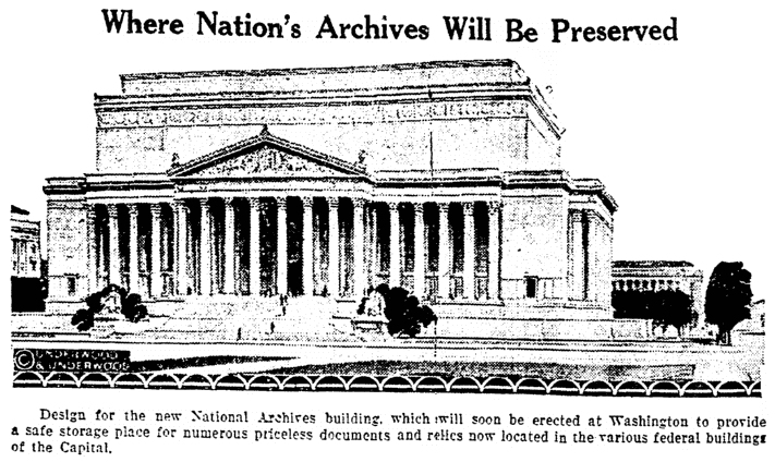 An article about the National Archives, National Labor Tribune newspaper article 27 August 1931