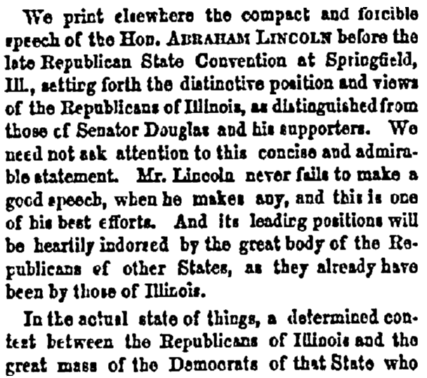 An article about Abraham Lincoln, New York Tribune newspaper article 24 June 1858
