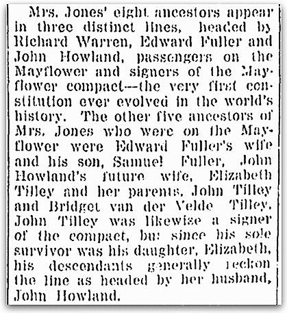 An article about Mayflower Pilgrim Elizabeth Tilley, Omaha World-Herald newspaper article 21 November 1920