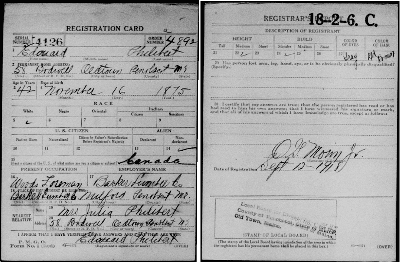 """Photo: """"United States World War I Draft Registration Cards, 1917-1918,"""" database with images, FamilySearch (https://familysearch.org/ark:/61903/1:1:KZFT-YMT: 12 December 2014), Edward Philibert, 1917-1918"""