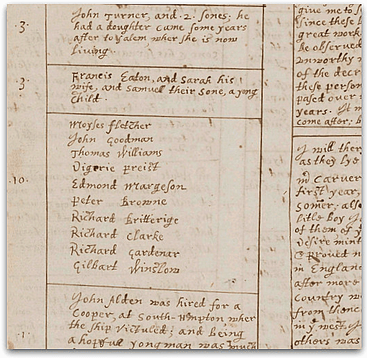 Photo: a page from William Bradford's journal showing the Mayflower passenger list