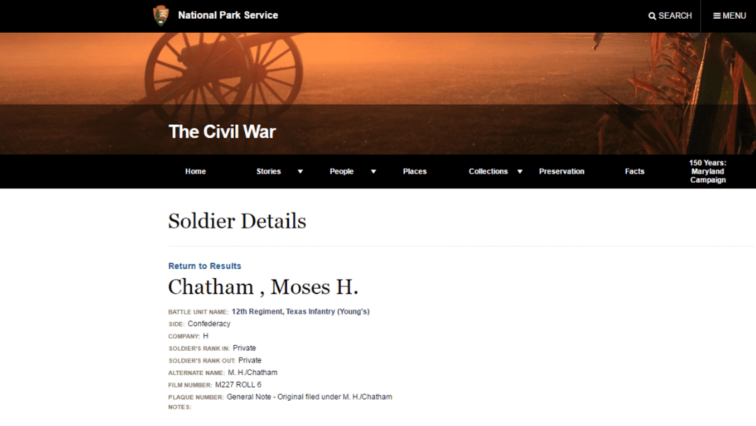 Photo: Civil War record for Moses H. Chatham
