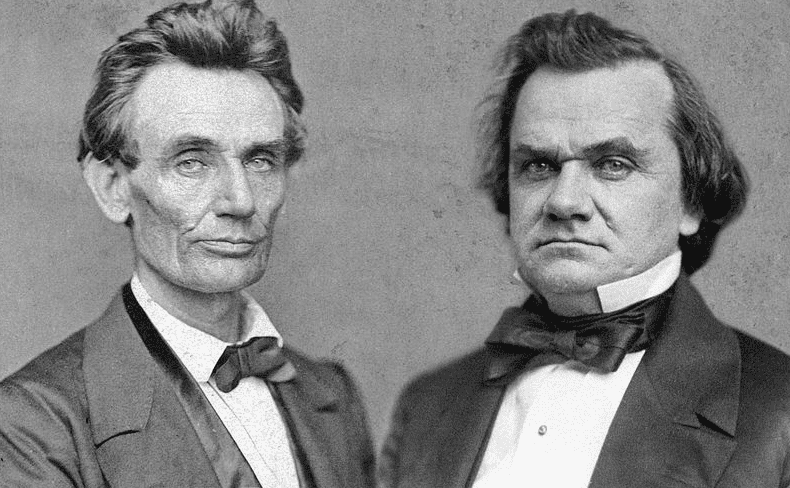 Photo: composite image of portrait photographs of Abraham Lincoln (1860) and Stephen Douglas (1859)