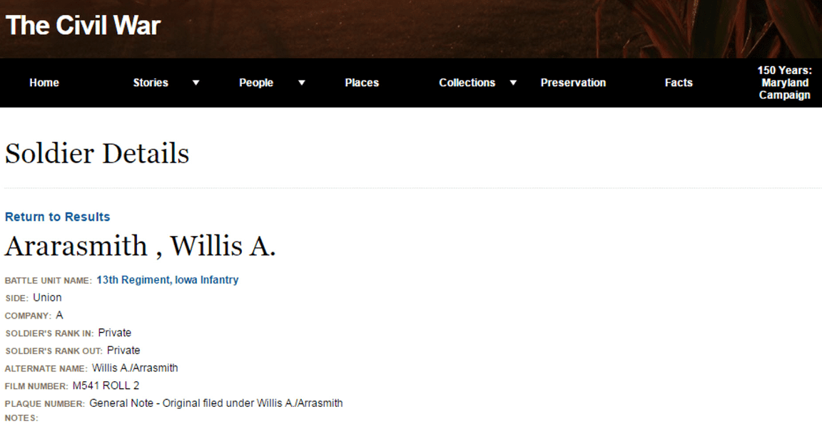 Photo: Civil War record for Willis A. Ararasmith