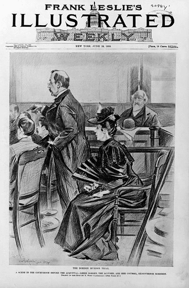 Illustration: the Borden murder trial: a scene in the courtroom before the acquittal, showing Lizzie Borden, the accused, and her counsel, Ex-Governor Robinson. Illustration in Frank Leslie's illustrated newspaper, v. 76 (1893 June 29), p. 411