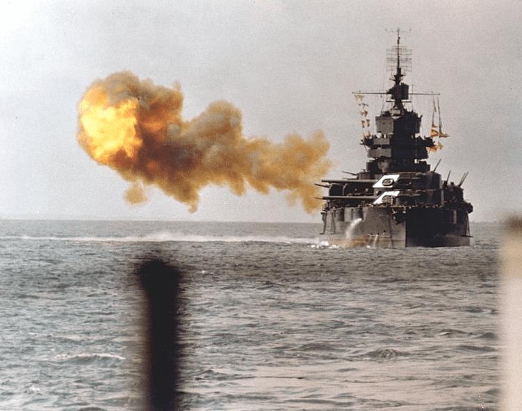 Photo: the battleship USS Idaho shells Okinawa on 1 April 1945
