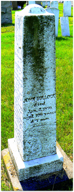 Photo: grave of John Bullock (1769-1867), North Burial Ground, Bristol, Bristol County, Rhode Island