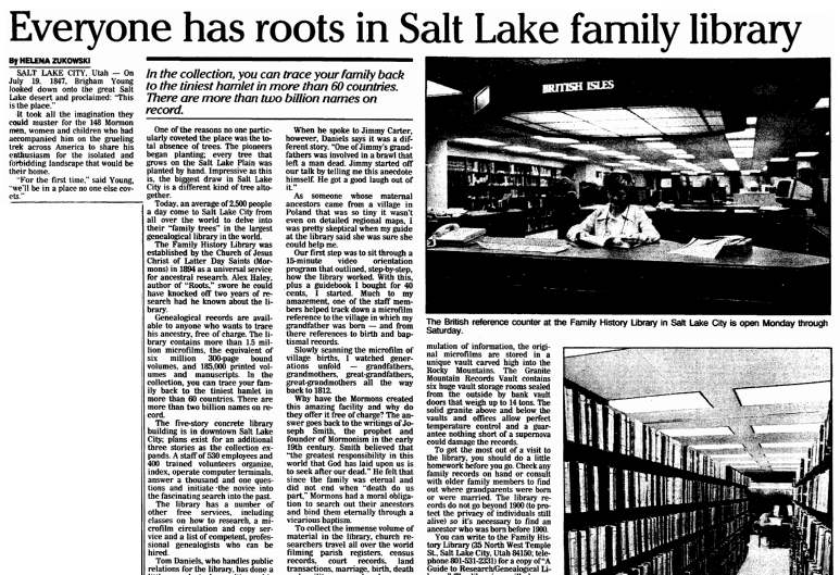 An article about the Family History Library, Plain Dealer newspaper article 1 July 1990