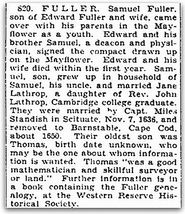 An article about Mayflower passenger Samuel Fuller, Plain Dealer newspaper article 4 September 1927