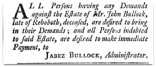 An article about John Bullock, Providence Gazette newspaper article 3 January 1789