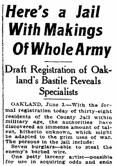 An article about the World War I draft, San Francisco Chronicle newspaper article 4 June 1917