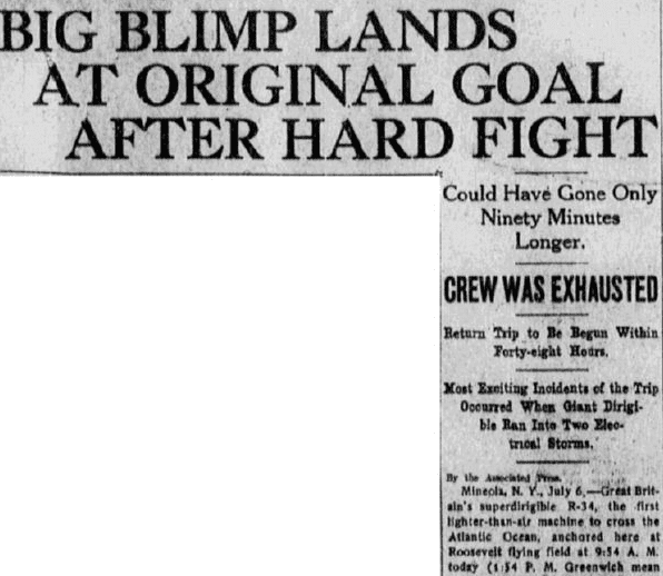 An article about the British dirigible R-34's historic crossing of the Atlantic in 1919, Baltimore American newspaper article 7 July 1919