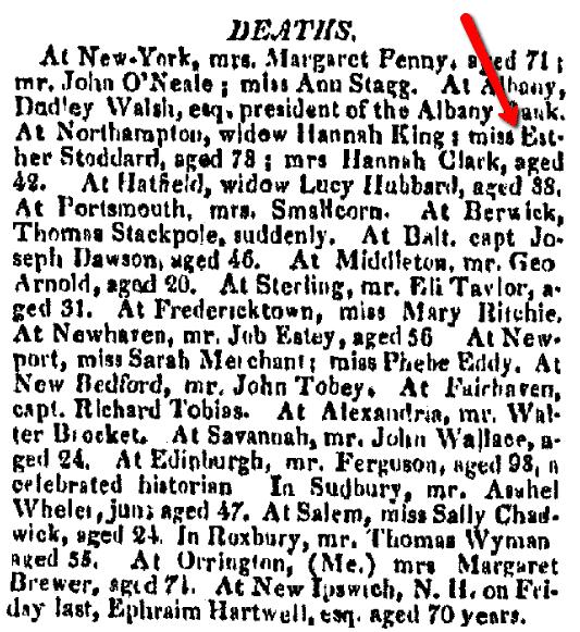 Obituaries, Boston Commercial Gazette newspaper article 3 June 1816