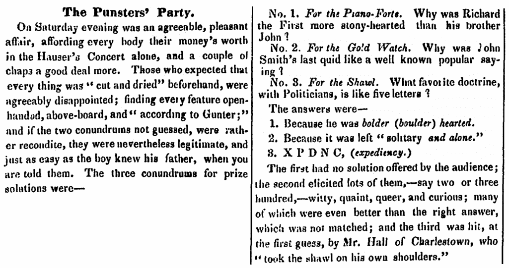 Riddles, Boston Daily Bee newspaper article 21 February 1848
