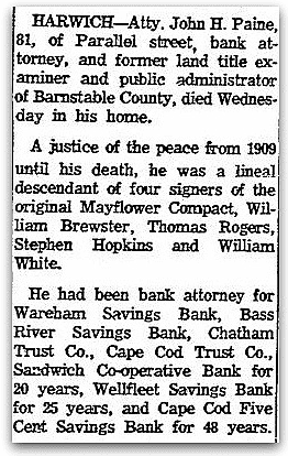 An obituary for John Paine, Boston Herald newspaper article 2 July 1964