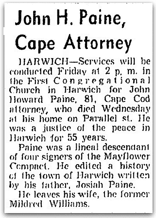 An obituary for John Paine, Boston Record American newspaper article 3 July 1964