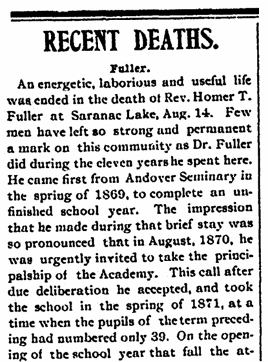 An obituary for Homer Taylor Fuller, Caledonian newspaper article 19 August 1908