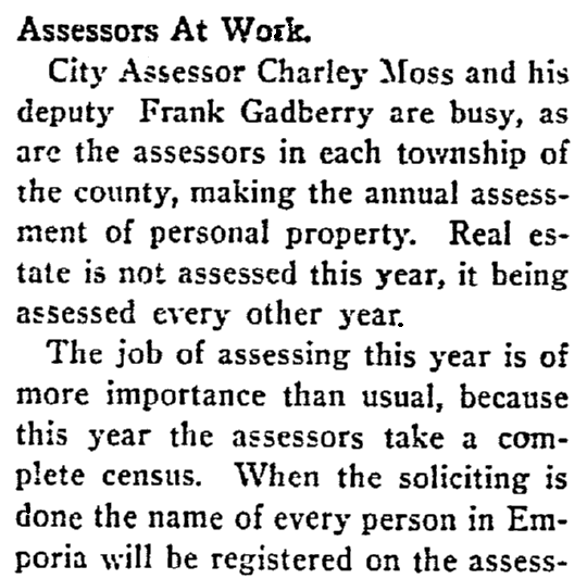 An article about the Kansas state census, Emporia Gazette newspaper article 28 March 1905