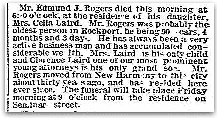 An obituary for Edmund Rogers, Evansville Courier and Press newspaper article An obituary for Edmund Rogers, Evansville Courier and Press newspaper article
