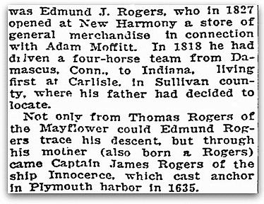 An article about Edmund Rogers, Evansville Courier and Press newspaper article 19 December 1920