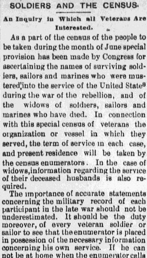 An article about the 1890 Veterans Schedule, a census of Union Civil War veterans and their widows, Evening News newspaper article 31 May 1890