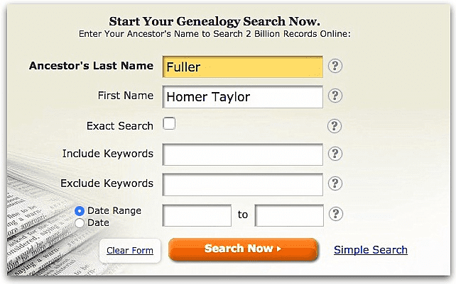A screenshot of GenealogyBank's search page showing a search for Homer Taylor Fuller