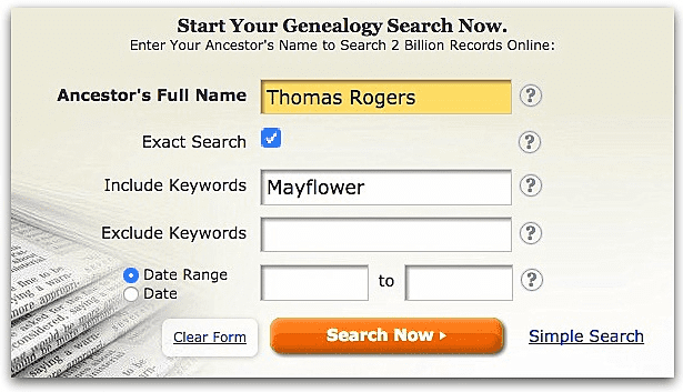 "A screenshot of GenealogyBank's search page showing a search for ""Thomas Rogers"" and ""Mayflower"""