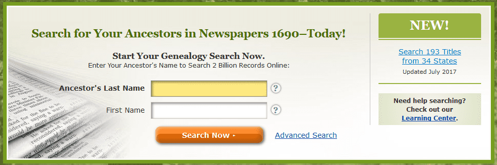 A screenshot of GenealogyBank's homepage showing the announcement for the new content added in July 2017