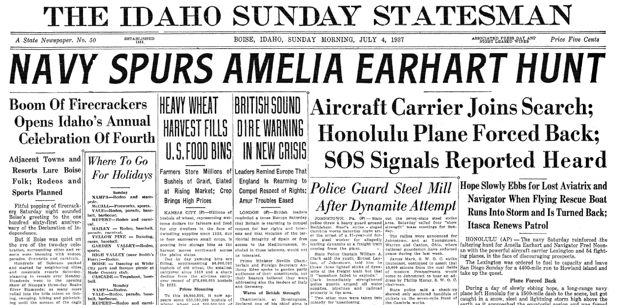 An article about the disappearance of famed woman pilot Amelia Earhart on 2 July 1937, Idaho Statesman newspaper article 4 July 1937