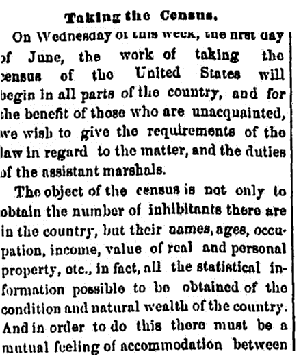 An article about the census, Jackson Citizen Patriot newspaper article 30 May 1870