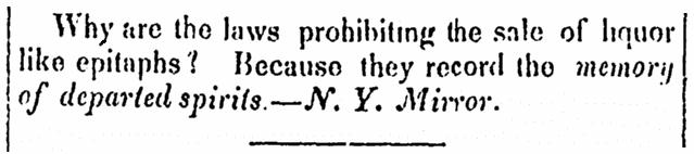 A riddle, Jerseyman newspaper article 19 September 1838
