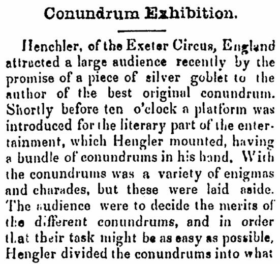 An article about a conundrum contest in England, Litchfield Republican newspaper article 5 April 1855