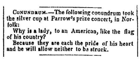 A riddle, Memphis Daily Eagle and Enquirer newspaper article 14 January 1854