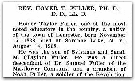 An obituary for Homer Taylor Fuller, Granite Monthly: A New Hampshire Magazine, Volume 40 (Concord, New Hampshire), September 1908