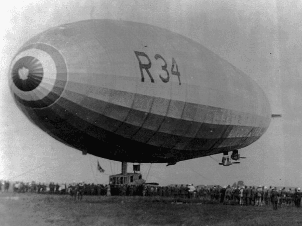Photo: British dirigible R-34 landing at Mineola, Long Island, N.Y., 6 July 1919. Credit: Library of Congress, Prints and Photographs Division.