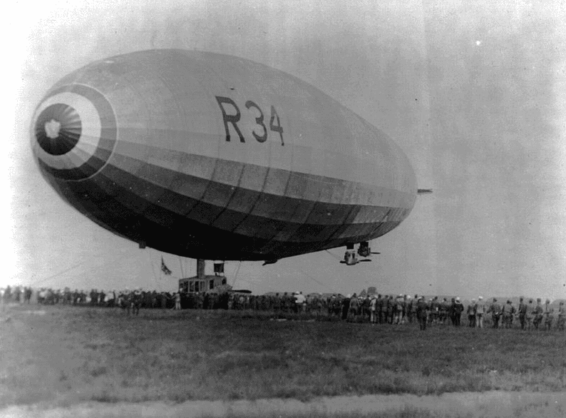 Photo: British dirigible R-34 landing at Mineola, Long Island, N.Y., 6 July 1919