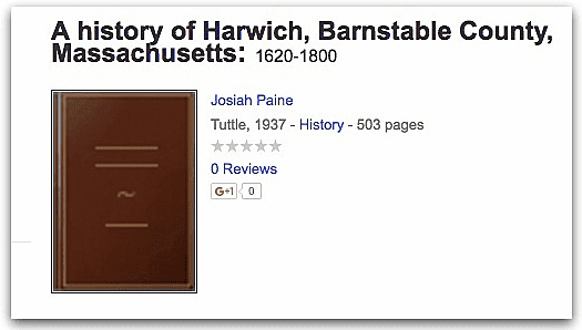 "Photo: cover of the book ""A History of Harwich, Barnstable County, Massachusetts"" by Josiah Paine"