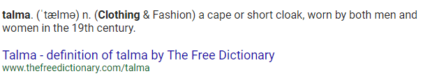 "A screenshot from ""The Free Dictionary"" website showing a definition for the word ""talma"""