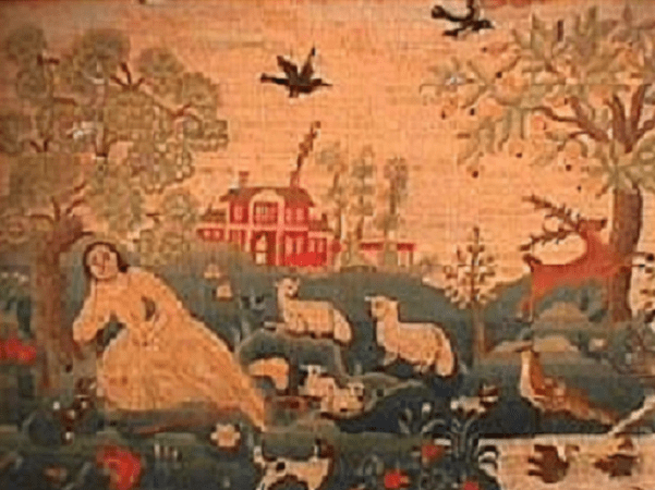 Photo: embroidery made by Esther Stoddard, c. 1750. Source: Historic Northampton Museum & Education Center, Northampton, Massachusetts.