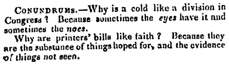 Riddles, Portland Advertiser newspaper article 22 April 1833