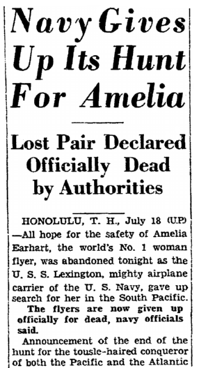 An article about the disappearance of famed woman pilot Amelia Earhart on 2 July 1937, San Francisco Chronicle newspaper article 19 July 1937