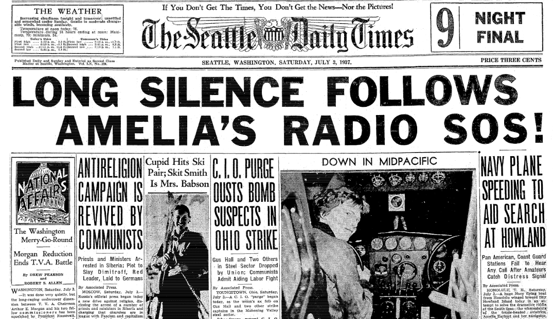 An article about the disappearance of famed woman pilot Amelia Earhart on 2 July 1937, Seattle Daily Times newspaper article 3 July 1937
