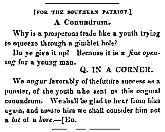 A riddle, Southern Patriot newspaper article 10 February 1848