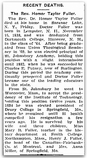 An obituary for Homer Taylor Fuller, St. Albans Daily Messenger newspaper article 15 August 1908