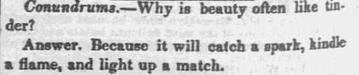 A riddle, Sun newspaper article 10 November 1837