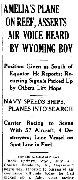 An article about the disappearance of famed woman pilot Amelia Earhart on 2 July 1937, Times-Picayune newspaper article 5 July 1937
