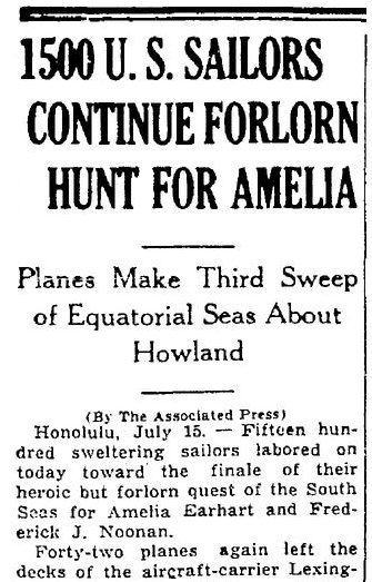 An article about the disappearance of famed woman pilot Amelia Earhart on 2 July 1937, Times-Picayune newspaper article 16 July 1937