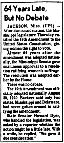 An article about Mississippi, women's suffrage and ratification of the 19th Amendment, Arkansas Gazette newspaper article 23 March 1984