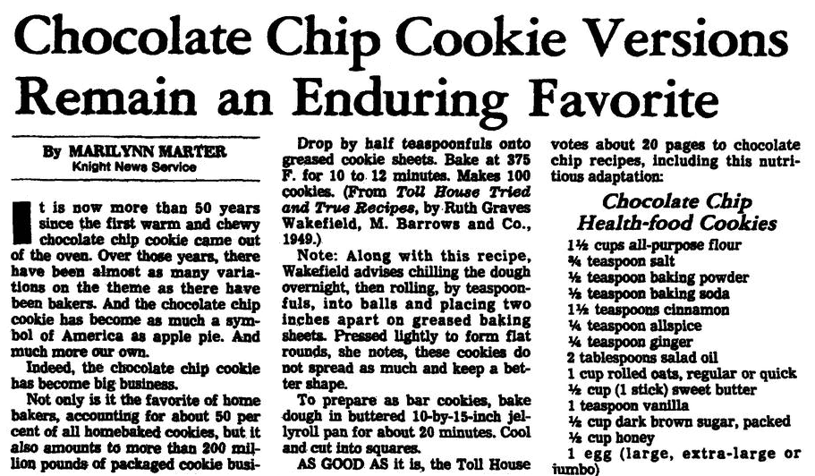 An article with recipes for chocolate chip cookies, Arkansas Gazette newspaper article 16 June 1982