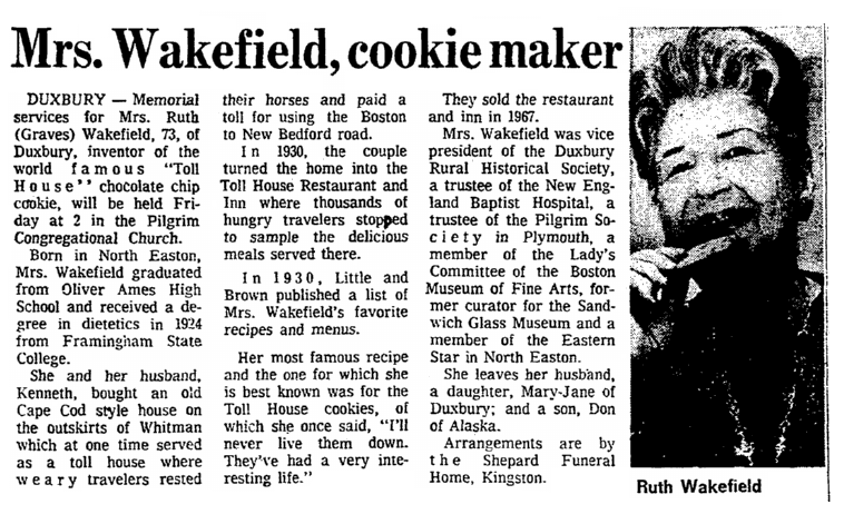 An obituary for Ruth Wakefield, Boston Herald newspaper article 12 January 1977